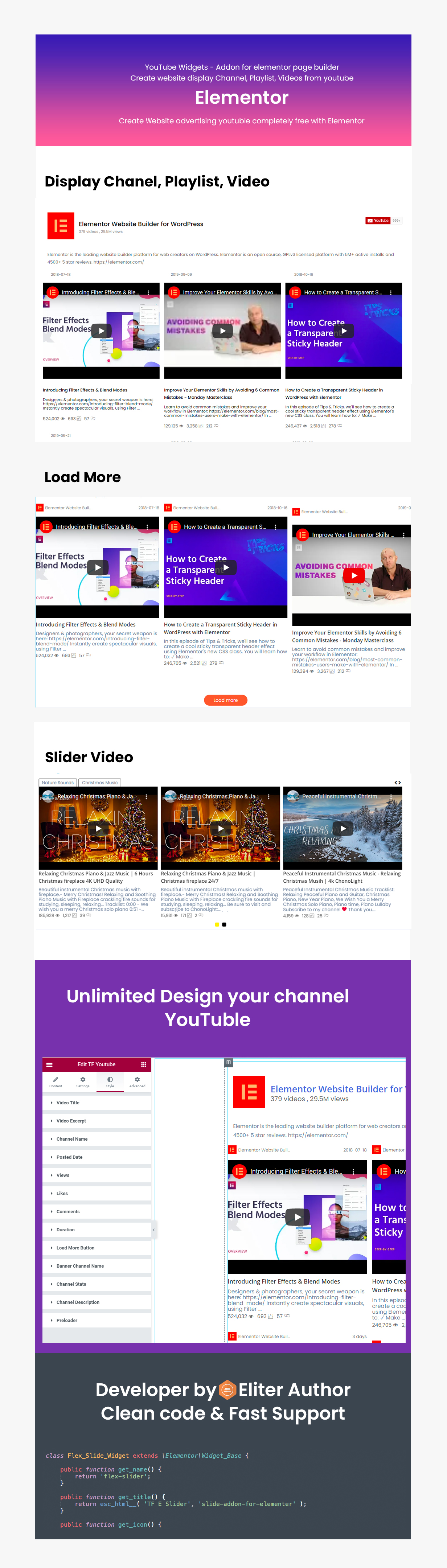 youtube video channel in Elementor Page Builder